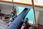 A canon on the deck of the Pride of Baltimore ship at the Maritime Festiville in Port Washington Wisconsin
