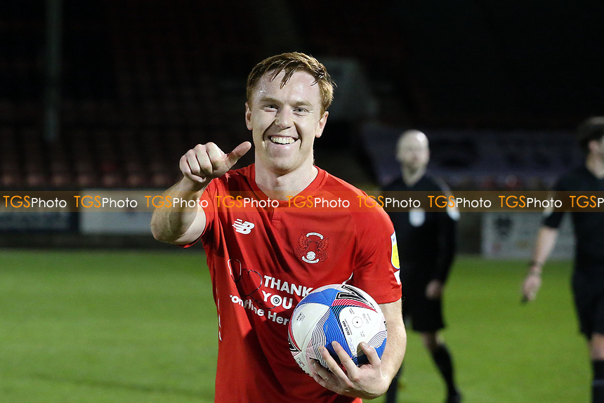 Hat trick hero Danny Johnson at ft with the match ballduring Leyton Orient vs Harrogate Town, Sky Bet EFL League 2 Football at The Breyer Group Stadium on 21st November 2020