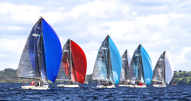 We'll dream of sailing like this all winter – SB20s showing the colours on Lough Ree