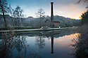 28/12/16<br /> <br /> After a freezing night, frost surrounds Leawood Pump House at dawn on the Cromford Canal in the Derbyshire Peak District. <br /> <br /> The pump with its 95 ft tall chimney was built in 1849 to pump water from the river Derwent into the canal. <br /> <br /> The steam engine still works and is open to visitors  regularly between Easter and October.<br /> <br /> <br /> <br /> All Rights Reserved F Stop Press Ltd. (0)1773 550665   www.fstoppress.com