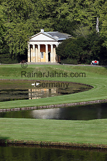 Great Britain, England, North Yorkshire, near Ripon: Ruins of 12th century Fountains Abbey and Studley Royal Water Garden, Yorkshire's first World Heritage Site, 18th century folly set amidst landscaped gardens