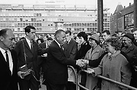 US Vice-President<br /> Lyndon B. Johnson in Rotterdam, HOLLAND  where he was greeting his american countrymen who work in the Netherlands,  November 5, 1963<br /> <br /> Photographer Walta, Winfried / Anefo