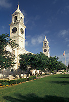 Bermuda, The West End, Sandy's Parish, Clocktower at the Royal Naval Dockyard at the end of Ireland Island in Sandy's Parish in Bermuda.