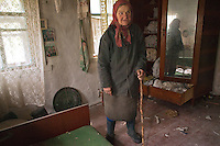 UKRAINE, Ilinsty village, 2010/10/7<br /> This deaf-mute old lady is one of two latest inhabitants of the village Ilintsy in the Zone of Alienation, Ilintsy, October 7, 2010.<br /> © Vaclav Vasku/EST&OST
