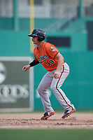 Baltimore Orioles third baseman Branden Becker (99) leads off first base during a Florida Instructional League game against the Boston Red Sox on September 21, 2018 at JetBlue Park in Fort Myers, Florida.  (Mike Janes/Four Seam Images)