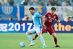 Jiangsu FC Forward Roger Beyker Martinez (L) fights for the ball with Shanghai FC Defender Fu Huan (R) during the AFC Champions League 2017 Round of 16 match between Jiangsu FC (CHN) vs Shanghai SIPG FC (CHN) at the Nanjing Olympic Stadium on 31 May 2017 in Nanjing, China. Photo by Marcio Rodrigo Machado / Power Sport Images