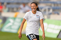 Chicago, IL - Sunday Sept. 04, 2016: Christen Press prior to a regular season National Women's Soccer League (NWSL) match between the Chicago Red Stars and Seattle Reign FC at Toyota Park.