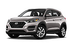Stock pictures of low aggressive front three quarter view of a 2019 Hyundai Tucson Value 5 Door SUV