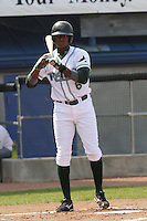 Tim Beckham of the Princeton Devil Rays standing at home plate during a game against the Greeneville Astros in an Appalachian League game at Hunnicutt Field in Princeton, WV on July 20, 2008