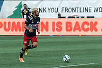 FOXBOROUGH, MA - SEPTEMBER 23: Kelyn Rowe #11 of New England Revolution brings the ball forward during a game between Montreal Impact and New England Revolution at Gillette Stadium on September 23, 2020 in Foxborough, Massachusetts.
