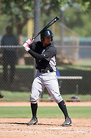 Lenyn Sosa (13) of the Chicago White Sox at bat during an Instructional League game against the Los Angeles Dodgers on September 30, 2017 at Camelback Ranch in Glendale, Arizona. (Zachary Lucy/Four Seam Images)