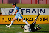 Natasha Kai (6) of Sky Blue FC is stopped by Boston Breakers goalkeeper Kristin Luckenbill (1). Sky Blue FC defeated the Boston Breakers 2-1 during a Women's Professional Soccer match at Yurcak Field in Piscataway, NJ, on May 31, 2009.