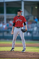 Erie SeaWolves starting pitcher Matt Manning (32) looks in for the sign during a game against the Harrisburg Senators on August 29, 2018 at FNB Field in Harrisburg, Pennsylvania.  Harrisburg defeated Erie 5-4.  (Mike Janes/Four Seam Images)