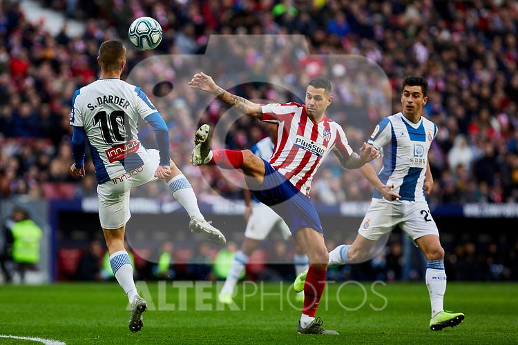 Victor Machin 'Vitolo' of Atletico de Madrid and Sergi Darder of RCD Espanyol during La Liga match between Atletico de Madrid and RCD Espanyol at Wanda Metropolitano Stadium in Madrid, Spain. November 10, 2019. (ALTERPHOTOS/A. Perez Meca)
