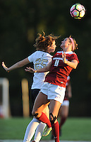 NWA Democrat-Gazette/ANDY SHUPE<br /> Arkansas' Alexandra Fischer (right) and Vanderbilt's Hannah Menard vie for the ball Thursday, Oct. 6, 2016, during the first half of play at Razorback Field in Fayetteville. Visit nwadg.com/photos to see more photographs from the game.