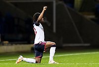 Bolton Wanderers' Peter Kioso 'takes the knee' in support of the Black Lives Matter movement <br /> <br /> Photographer Andrew Kearns/CameraSport<br /> <br /> The EFL Sky Bet League Two - Bolton Wanderers v Mansfield Town - Tuesday 3rd November 2020 - University of Bolton Stadium - Bolton<br /> <br /> World Copyright © 2020 CameraSport. All rights reserved. 43 Linden Ave. Countesthorpe. Leicester. England. LE8 5PG - Tel: +44 (0) 116 277 4147 - admin@camerasport.com - www.camerasport.com