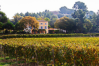 The Mas chateau that has given its name to the domaine. Mas La Chevaliere. near Beziers. Languedoc. The main building. France. Europe. Vineyard.