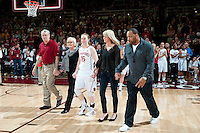 STANFORD, CA--Senior Lindy LaRocque celebrates senior day with her family during PAC-12 conference play against Utah  at Maples Pavilion. The Cardinal won the matchup against the Utes 69-42.