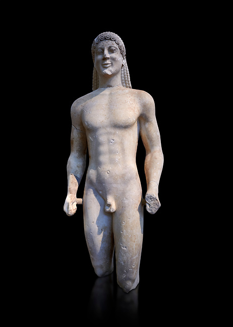 Marble Anxcient Greek Archaic meble statue of a kouros, circa 500 BC, Athens National Archaeological Museum.   Against black