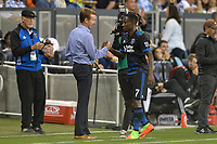 San Jose, CA - Monday July 10, 2017: Chris Leitch, Cordell Cato during a U.S. Open Cup quarterfinal match between the San Jose Earthquakes and the Los Angeles Galaxy at Avaya Stadium.