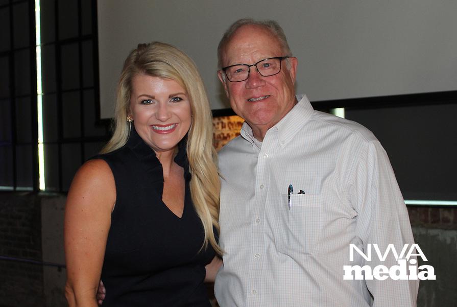 Natalie Bartholomew and Jim Crouch visit at the SPSFNWA celebration. <br /> (NWA Democrat-Gazette/Carin Schoppmeyer)