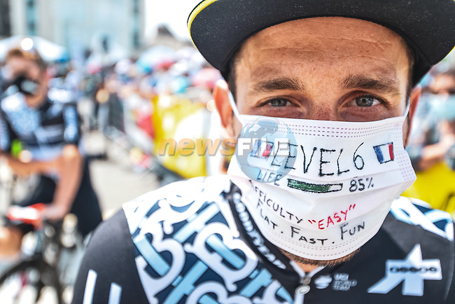 Carlos Barbero (ESP) Team Qhubeka-NextHash at sign on before Stage 6 of the 2021 Tour de France, running 160.6km from Tours to Chateauroux, France. 1st July 2021.  <br /> Picture: A.S.O./Pauline Ballet | Cyclefile<br /> <br /> All photos usage must carry mandatory copyright credit (© Cyclefile | A.S.O./Pauline Ballet)