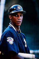 Darryl Strawberry of the New York Yankees plays in a baseball game at Edison International Field during the 1998 season in Anaheim, California. (Larry Goren/Four Seam Images)