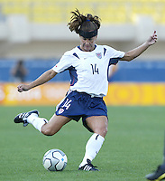 23 August 2004:   Joy Fawcett in action against Germany during the semifinal game at Pankritio Stadium in Heraklio, Greece.     USA defeated Germany, 2-1 in overtime.   Credit: Michael Pimentel / ISI