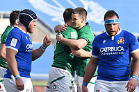 Garry Ringrose of Ireland celebrates after try  Roma, Olimpico stadium, 27/02/2021.<br /> Italy vs Ireland <br /> Six Nations 2021 rugby trophy <br /> Photo Antonietta Baldassarre/ Insidefoto