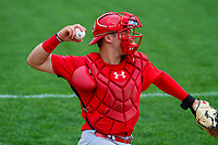 Peoria Chiefs catcher Andrew Knizner (21) warms up prior to a Midwest League game against the Beloit Snappers on April 15, 2017 at Pohlman Field in Beloit, Wisconsin.  Beloit defeated Peoria 12-0. (Brad Krause/Four Seam Images)