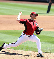 Daniel Hudson #41 of the Arizona Diamondbacks plays against the Chicago Cubs in a spring training game at Salt River Fields on March 13, 2011 in Scottsdale, Arizona. .Photo by:  Bill Mitchell/Four Seam Images.