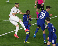 April 27th 2021; Alfredo Di Stefano Stadium, Madrid, Spain; UEFA Champions League. Karim Benzema and Golo Kante with Kai Havertz  during the Champions League match, semifinals between Real Madrid and Chelsea FC played at Alfredo Di Stefano Stadium