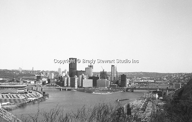 Pittsburgh PA:  View of the city during the construction of PPG Place, One Mellon Center, and One Oxford Centre.