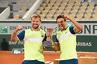 10th October 2020, Roland Garros, Paris, France; French Open tennis, Mens Doubles final 2020; Kevin Krawietz and Andreas Mies , Germay winning their second Roland Garros Doubles Title