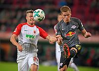 19.09.2017, Football 1.Bundesliga 2017/2018, 5. match day, FC Augsburg - RB Leipzig, in WWK-Arena Augsburg. v.li: Alfred Finnbogason (FC Augsburg)  -  Marcel Halstenberg (RB Leipzig)  *** Local Caption *** © pixathlon<br /> <br /> +++ NED + SUI out !!! +++<br /> Contact: +49-40-22 63 02 60 , info@pixathlon.de