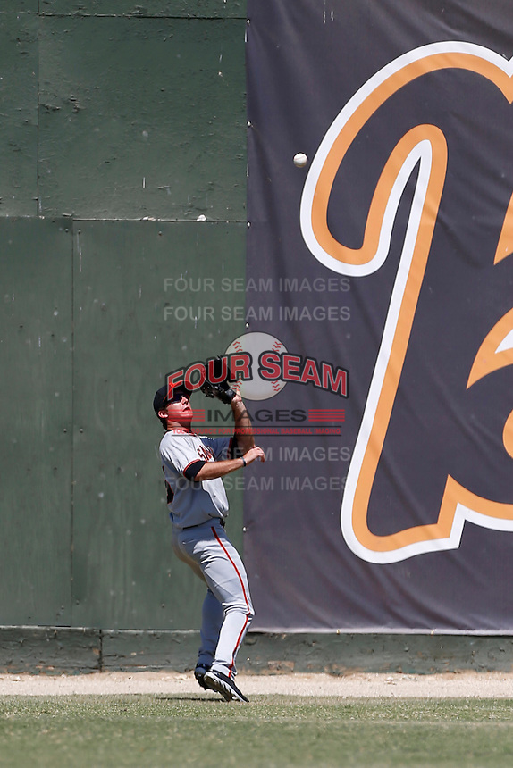 Elliott Blair #55 of the San Jose Giants catch a fly ball during a game against the Bakersfield Blaze at Sam Lynn Ballpark on August 4, 2013 in Bakersfield, California. San Jose defeated Bakersfield, 7-4. (Larry Goren/Four Seam Images)