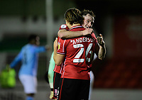 Lincoln City's Harry Anderson (number 26) celebrates scoring the opening goal with team-mate Theo Archibald<br /> <br /> Photographer Chris Vaughan/CameraSport<br /> <br /> EFL Papa John's Trophy - Northern Section - Group E - Lincoln City v Manchester City U21 - Tuesday 17th November 2020 - LNER Stadium - Lincoln<br />  <br /> World Copyright © 2020 CameraSport. All rights reserved. 43 Linden Ave. Countesthorpe. Leicester. England. LE8 5PG - Tel: +44 (0) 116 277 4147 - admin@camerasport.com - www.camerasport.com