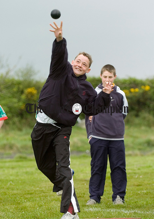 William Flynn of Shannon competing at the Clare Tarck and Field championships at Mullagh. Photograph by John Kelly.