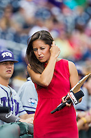 ESPN reporter Kaylee Hartung at the NCAA College World Series on June 14, 2015 at TD Ameritrade Park in Omaha, Nebraska. (Andrew Woolley/Four Seam Images)