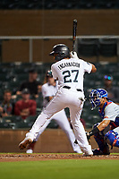 Salt River Rafters Jerar Encarnacion (27), of the Miami Marlins organization, at bat during an Arizona Fall League game against the Mesa Solar Sox on September 19, 2019 at Salt River Fields at Talking Stick in Scottsdale, Arizona. Salt River defeated Mesa 4-1. (Zachary Lucy/Four Seam Images)