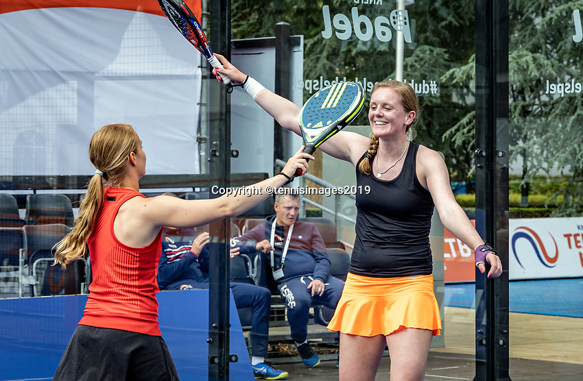 Rosmalen, Netherlands, 15 June, 2019, Tennis, Libema Open, NK Padel, Final Padel womans double: Milou Ettekoven (NED) and Marcella Koek (NED) (R) winners celebrate<br /> Photo: Henk Koster/tennisimages.com
