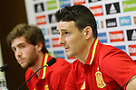 Aritz Aduriz (r) and Sergi Roberto in press conference during Spanish national football team staff. March 21,2016. (ALTERPHOTOS/Acero)