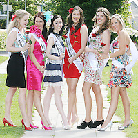 17/8/2010. 2010 Rose of Tralee visit RTE. The New Zealand Rose Elisabeth Sara, Queensland Rose Aisling Ryan, Sydney Rose Louise Lenihan, South Austrlian Rose Bridget O Connell, Perth Rose Mollie Hartley and Perth Rose Valerie O Halloran are pictured at the RTÉ studios in Donnybrook Dublin. The Rose of Tralee International Festival, which runs from Friday 20th to Tuesday 24th of August, culminates in the live televised International Rose Selection on RTÉ One, hosted for the first time by Dáithí O Sé. The show will be broadcast from 8pm on Monday and Tuesday the 23rd and 24th of August, with a break for the Nine O' Clock News on both nights. The show will also be streamed live around the world at www.rte.ie. Picture James Horan/Collins Photos
