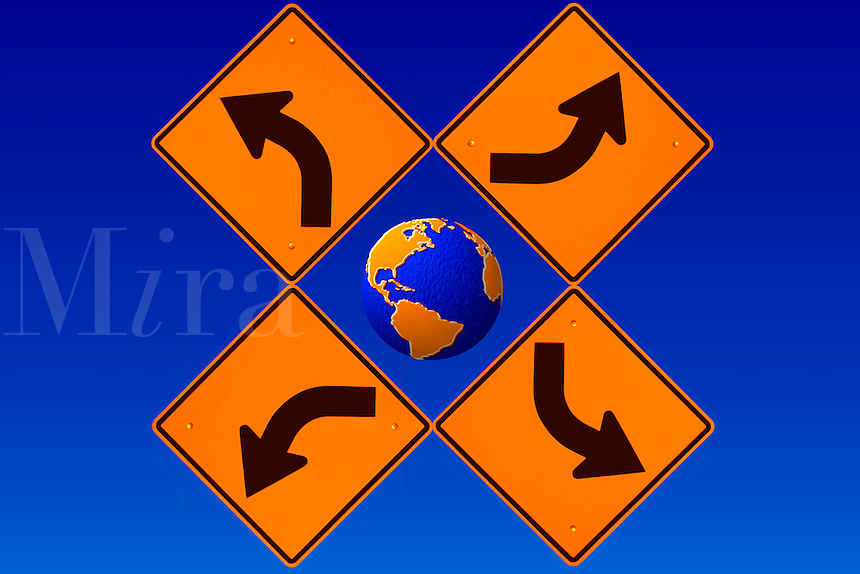 The Earth and Directional Road Signs.