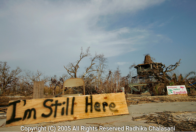 Bay St. Louis, Mississippi-October 02: Judee English proclaims her perserverance October 02, 2005  as she lives in a blue ten alongside what's left of her home, destroyed by Hurricane Katrina in Bay St. Louis.   (Photo by Radhika Chalasani/Getty Images).