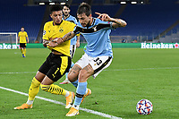 Jadon Sancho of Borussia Dortmund and Francesco Acerbi of SS Lazio compete for the ball during the Champions League Group Stage F day 1 football match between SS Lazio and Borussia Dortmund at Olimpic stadium in Rome (Italy), October, 20th, 2020. Photo Andrea Staccioli / Insidefoto