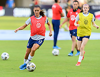 HOUSTON, TX - JUNE 10: Alex Morgan #13 of the United States warming up before a game between Portugal and USWNT at BBVA Stadium on June 10, 2021 in Houston, Texas.