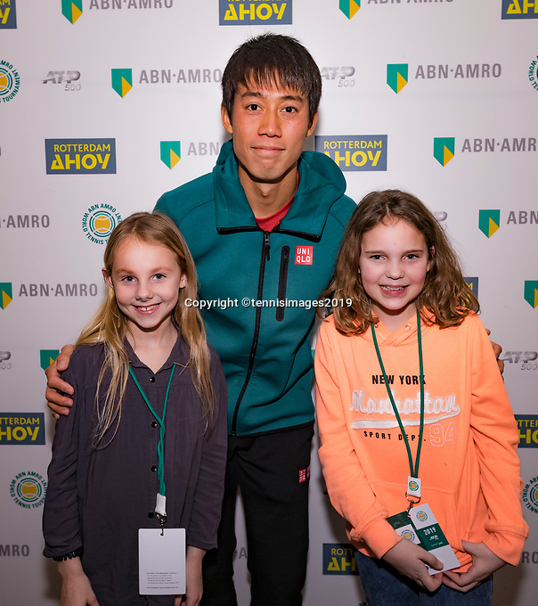 Rotterdam, The Netherlands, 14 Februari 2019, ABNAMRO World Tennis Tournament, Ahoy, Meet and greet withe Kei Nishikori (JPN)<br /> Photo: www.tennisimages.com/Henk Koster