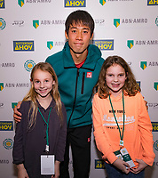Rotterdam, The Netherlands, 14 Februari 2019, ABNAMRO World Tennis Tournament, Ahoy, Meet and greet withe Kei Nishikori (JPN)<br /> Photo: www.tennisimages.com/Henk Koster