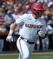 Arkansas designated hitter Charlie Welch runs to first Friday, June 4, 2021, after drawing a bases-loaded walk during the fourth inning of the Razorbacks' 13-8 win over New Jersey Institute of Technology in the first game of the NCAA Fayetteville Regional at Baum-Walker Stadium in Fayetteville. Visit nwaonline.com/210605Daily/ for today's photo gallery.<br /> (NWA Democrat-Gazette/Andy Shupe)